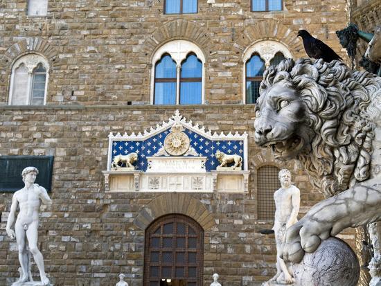 Palazzo Vecchio, Marzocco Lion and Statue of David, Piazza Della Signoria, UNESCO Heritage Site-Nico Tondini-Photographic Print