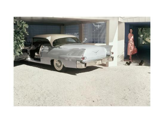 Pale Blue Cadillac Eldorado Seville in Garage--Premium Photographic Print