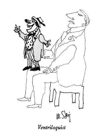 Pale man with vividly-drawn ventriloquist's dummy on his lap. - New Yorker Cartoon-William Steig-Premium Giclee Print