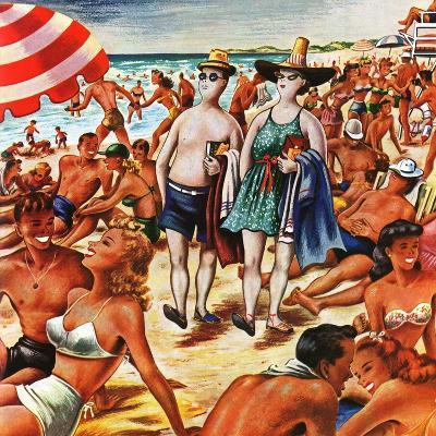 """""""Palefaces at the Beach,"""" July 27, 1946-Constantin Alajalov-Giclee Print"""