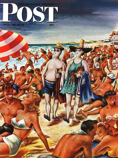 """""""Palefaces at the Beach,"""" Saturday Evening Post Cover, July 27, 1946-Constantin Alajalov-Giclee Print"""