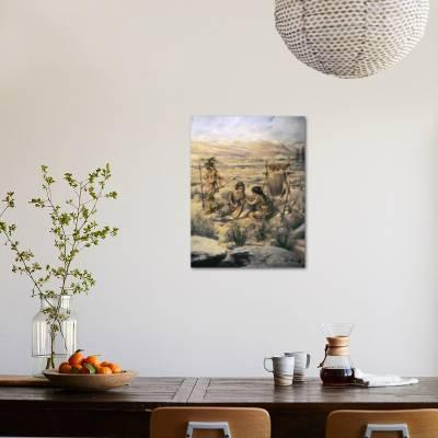 Paleo indian caribou hunters photographic print by art com