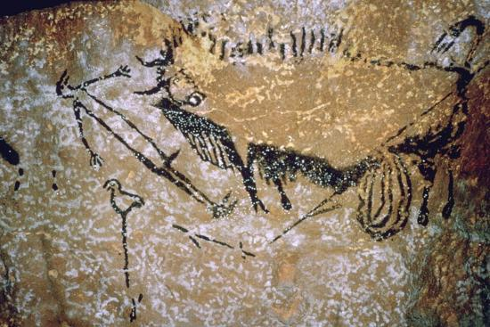 Paleolithic cave-painting of a Bison and Man from Lascaux. Artist: Unknown-Unknown-Photographic Print
