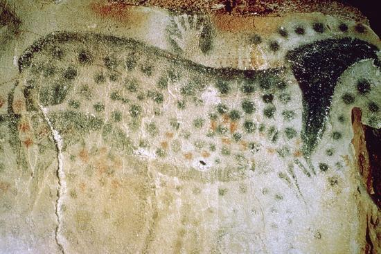 Paleolithic cave-painting of a horse and human hands from France. Artist: Unknown-Unknown-Photographic Print