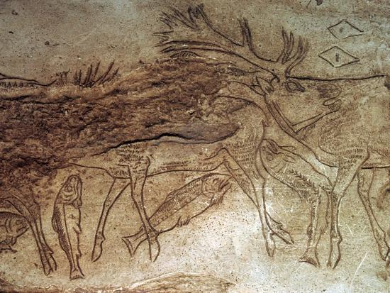 Paleolithic engraved bone with reindeer. Artist: Unknown-Unknown-Giclee Print