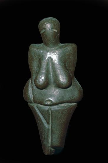 Paleolithic female figure of baked clay. Artist: Unknown-Unknown-Giclee Print