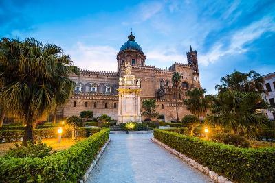 Palermo Cathedral (Duomo Di Palermo) at Night, Palermo, Sicily, Italy, Europe-Matthew Williams-Ellis-Photographic Print