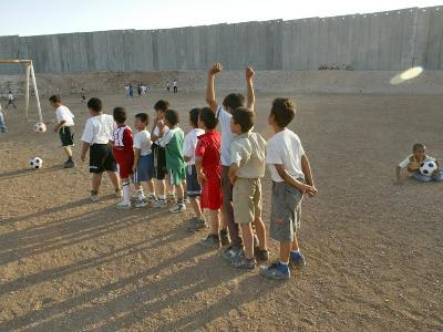 Palestinian Children Line Up--Photographic Print
