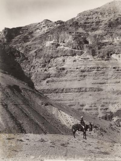 Palestinian Man on Donkey--Photographic Print