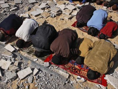 Palestinians Pray in Rubble of Mosque Destroyed in Israeli Military Offensive, Northern Gaza Strip--Photographic Print