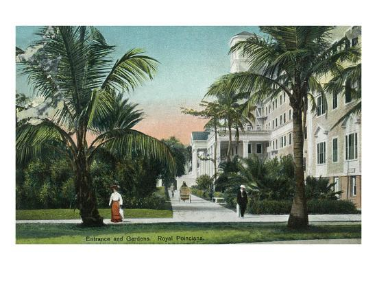 Palm Beach, Florida - Royal Poinciana Entrance and Grounds View-Lantern Press-Art Print