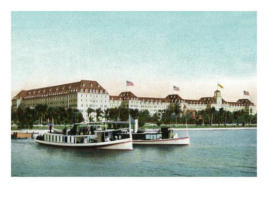 Palm Beach, Florida - Royal Poinciana Hotel View from Water-Lantern Press-Art Print