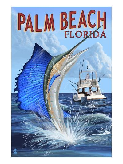 Palm Beach, Florida - Sailfish Scene-Lantern Press-Art Print