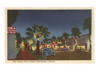 Palm Canyon at Night, Palm Springs, California--Art Print