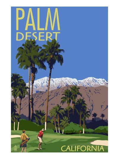 Palm Desert, California - Golfing Scene-Lantern Press-Art Print