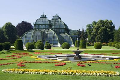 Palm House in the palace garden of Schoenbrunn Palace, Vienna, Austria