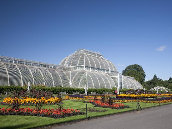 Palm House Parterre with Floral Display, Royal Botanic Gardens, UNESCO World Heritage Site, England-Adina Tovy-Photographic Print