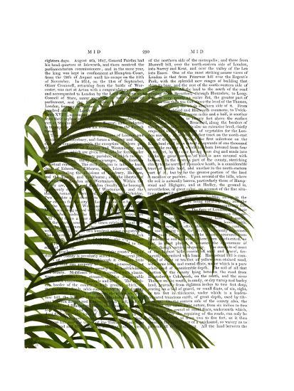 Palm Leaf 1, Green On White-Fab Funky-Art Print