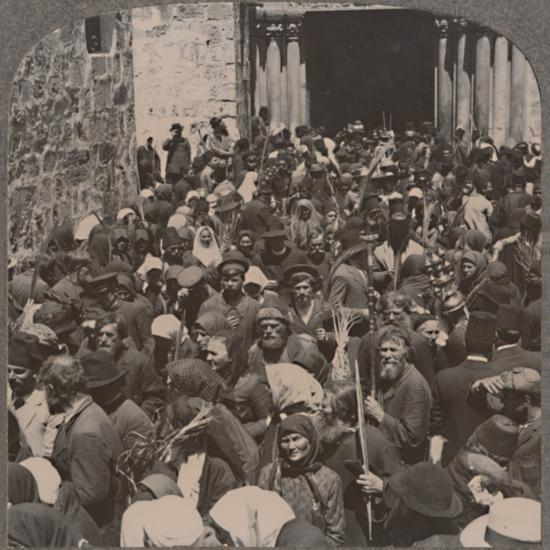 'Palm Procession leaving the Church of the Holy Sepulchure', c1900-Unknown-Photographic Print