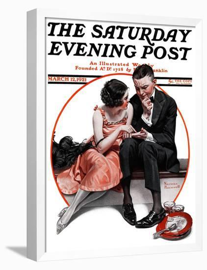 """""""Palm Reader"""" or """"Fortuneteller"""" Saturday Evening Post Cover, March 12,1921-Norman Rockwell-Framed Stretched Canvas Print"""