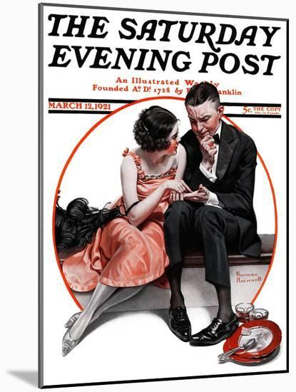 """""""Palm Reader"""" or """"Fortuneteller"""" Saturday Evening Post Cover, March 12,1921-Norman Rockwell-Mounted Premium Giclee Print"""
