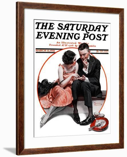 """""""Palm Reader"""" or """"Fortuneteller"""" Saturday Evening Post Cover, March 12,1921-Norman Rockwell-Framed Giclee Print"""