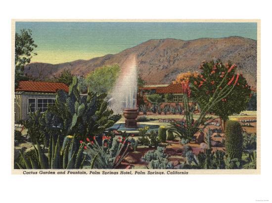 Palm Springs, California - Cactus Garden, Palm Springs Hotel-Lantern Press-Art Print