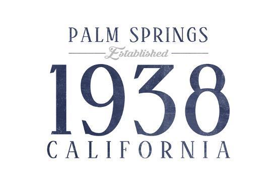 Palm Springs, California - Established Date (Blue)-Lantern Press-Art Print