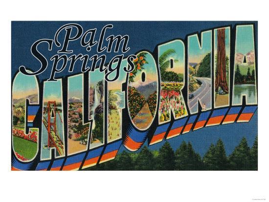 Palm Springs, California - Large Letter Scenes-Lantern Press-Art Print
