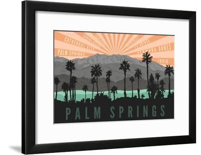 Palm Springs, California - Palm Trees and Mountains-Lantern Press-Framed Art Print