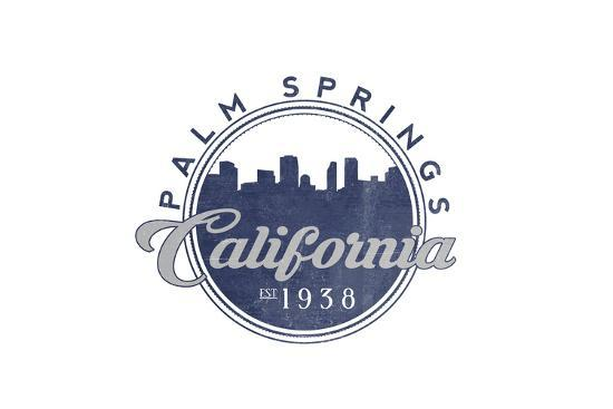 Palm Springs, California - Skyline Seal (Blue)-Lantern Press-Art Print