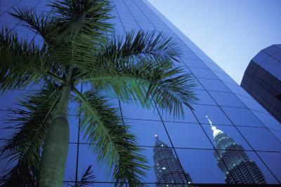 Palm Tree and Reflection of Petronas Towers in Facade-Design Pics Inc-Photographic Print