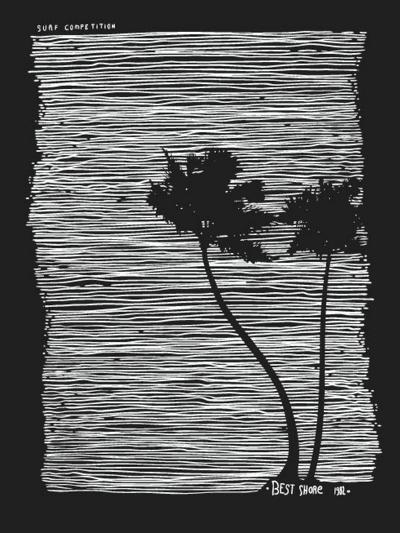 Palm Tree Beach Texture 2-yusuf doganay-Art Print