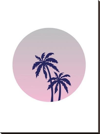Palm Tree Circle-Ashlee Rae-Stretched Canvas Print