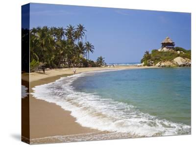Palm Tree Lined Beach and Turquoise Waters at Cabo San Juan-Mike Theiss-Stretched Canvas Print