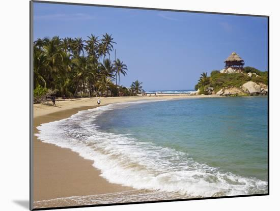 Palm Tree Lined Beach and Turquoise Waters at Cabo San Juan-Mike Theiss-Mounted Photographic Print