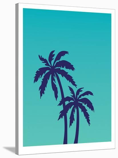 Palm Tree on Teal-Ashlee Rae-Stretched Canvas Print