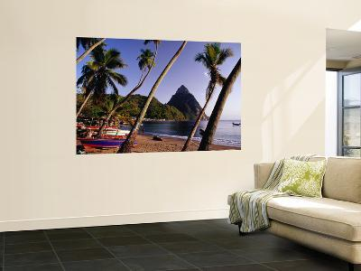 Palm Trees and Fishing Boats on Soufriere Beach with One of the Pitons in the Background-Richard l'Anson-Wall Mural