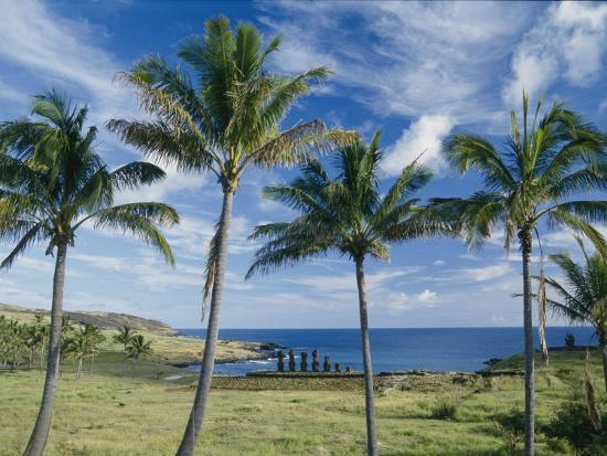 Palm Trees and Moai on the Shore of Easter Island--Photographic Print