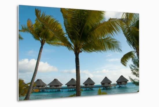 Palm Trees and Vacation Cottages over Water on Bora Bora-Karen Kasmauski-Metal Print