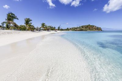 Palm Trees and White Sand Surround the Turquoise Caribbean Sea, Ffryes Beach, Antigua-Roberto Moiola-Photographic Print
