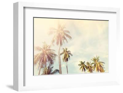Palm Trees Jungle Blue Sky Toned Shabby Nature-olga pink-Framed Art Print