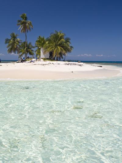 Palm Trees on Beach, Silk Caye, Belize, Central America-Jane Sweeney-Photographic Print