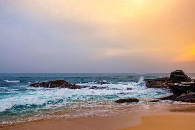 Palm Tropical Beach. Landscape Sunset on Rocky Coast Ocean. Instagram Effect (Vintage).-Travel landscapes-Photographic Print