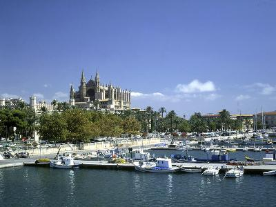 Palma Cathedral and Harbour, Majorca, Spain-Peter Thompson-Photographic Print
