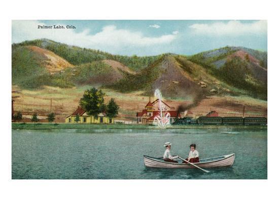 Palmer Lake, Colorado, View of a Couple in a Rowboat on the Lake-Lantern Press-Art Print