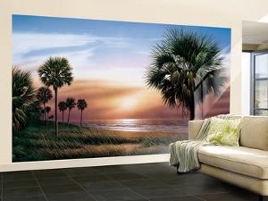 Palmetto Sunrise With Dusky Golden Pink Sky Huge Mural Art Print Poster