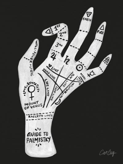 Palmistry Black And White-Cat Coquillette-Art Print