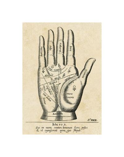 Palmistry: Palm Diagram-Vintage Reproduction-Art Print