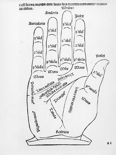 Palmistry (Woodcut) (B/W Photo)-English-Giclee Print